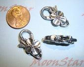 3 Pcs -  Large Antique Silver Lobster Clasp with Four Petal Flower Detail Lead Free Pewter Jewelry Connector