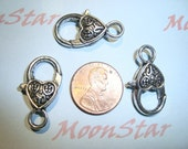3 Pcs -  Large Antique Silver Lobster Clasp with Heart Detail Lead Free Pewter Jewelry Connector