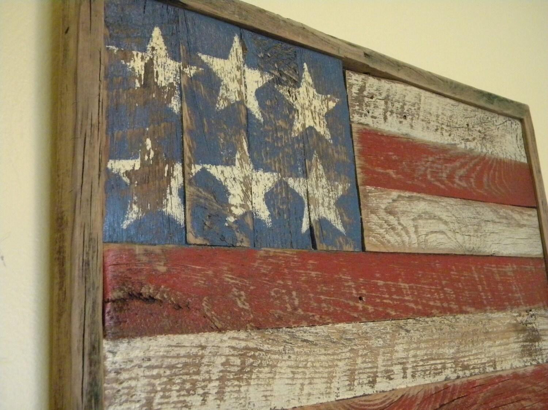 Rustic barn wood american flag for Barnwood decor