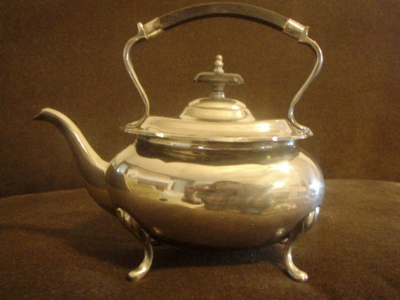 Reserved For Petra Silver Vintage Teapot/ Coffeepot Sheraton  Ebony Handle Scrolled Edges