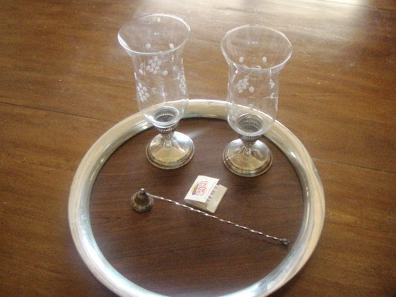 Vintage Sterling Silver Candle Holders Hurricane Lamps Etched Glass Globes By Duchin Creations