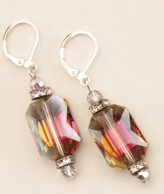 Multicolored Rectangled Leverback Earrings Sparkling Crystals