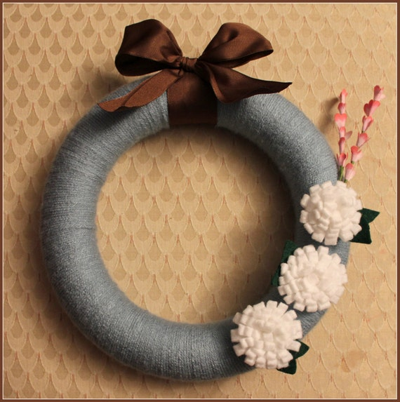 Sea Blue Yarn Wreath- 10""
