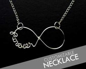 CUSTOM Personalized Wire Name / Word Infinity Necklace 925 Sterling Silver Plated