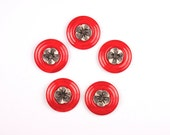 Vintage red and silver tone plastic  buttons - set of five