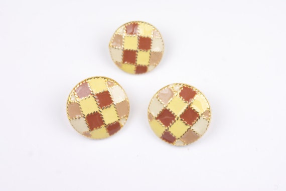 Retro yellow, cream and brown buttons. Set of three.