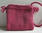 RESERVED Knitted bag/purse - small size in dark pink