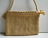 RESERVED Knitted bag/purse - small size in a toffee colour