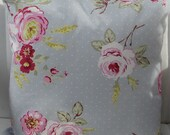 Grey Rose Chintz Reversible Cushion