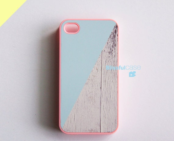 iphone case - skyblue and white wood color block with pink case (BlissfulCASE Yellow line)