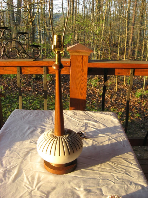 Mid Century Danish Modern Pottery Lamp