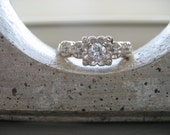 DEPOSIT TO HOLD--Beautiful Vintage 14K White and Yellow Gold Diamond Engagement Ring