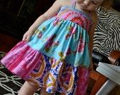 Bold and Bright Twirly Halter Dress