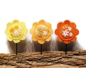 Floral bobby pin Felt hair pin girls flowers yellow hair accessories embroidery floral bobby pin