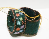 Wool Felt Pincushion hand embroidery flower emerald green Colorful flowers