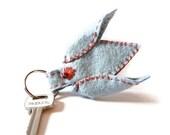 Felt keychain Tulip keychain Blue tulip Wool keyring