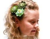 Flower bobby pin Hair accessories Green felt flowers