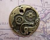 1 Time Works Clock  Watch Bronze layered charm