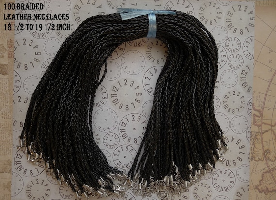 """100 Braided Leather necklaces 18 1/2 """" to 19 1/2 """""""
