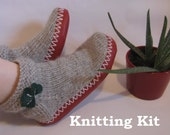 Grey and Red Socks-Slippers with Green Shamrock Decorations KNITTING KIT