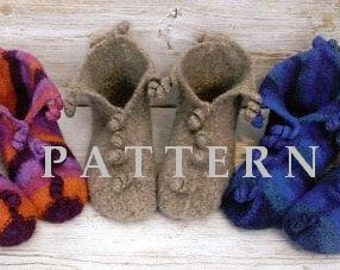 Pattern - Felted Knit Slippers with Spiral Decorations