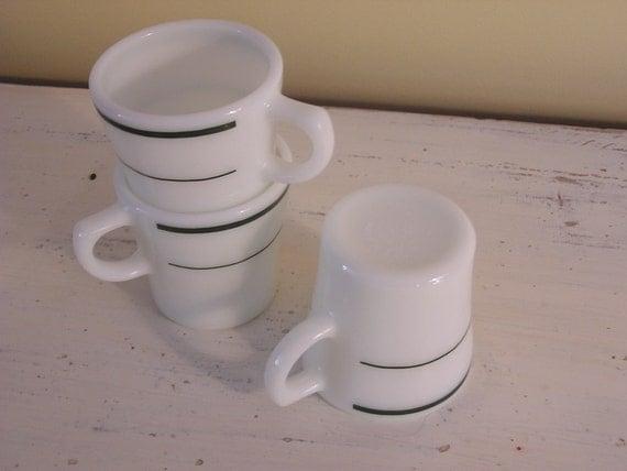 Vintage Pyrex Mugs, Green Band, Trio of (3)