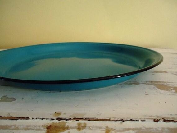 Vintage Enamel Ware Tray, Turquiose or Teal Blue