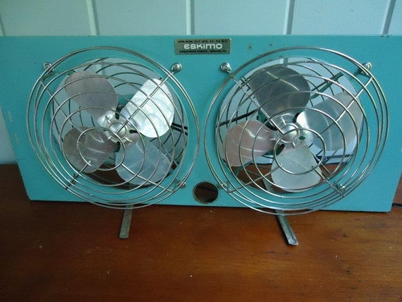 Vintage Fan, Eskimo Double Window Fan , 1960s Industrial, Teal Blue