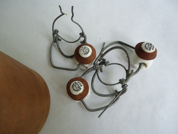 Vintage Porcelain Bottle Stoppers and Bail Wires, Lot of 11