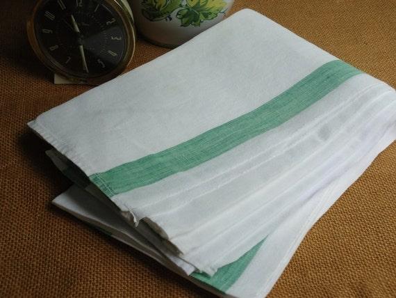 Vintage French Linens, Green Stripe, (1) Tea Towel