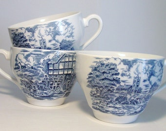 Three Blue and White China Tea Cups