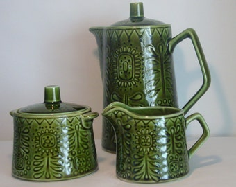 Retro Green Coffee or Tea Set