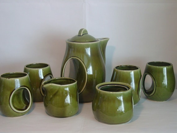 Vintage Green Tea or Coffee Set