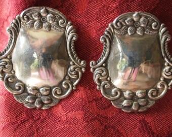 Vintage Sterling Silver Floral Earrings