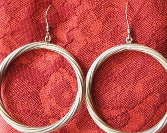 Vintage Sterling Silver, twisted hoop earrings