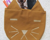 Mustard with Gold Cat Pouch Carry-All
