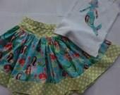 Mermaid Skirt Set Girls Summer Twirly Skirt Mermaid Skirt Set Applique Tee Michael Miller Sea Beauties Fabric Mermaid Skirt Birthday