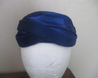 Vintage Brigette hat-Royal Blue