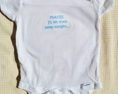 Maybe Onesie with Blue Lettering 12 months