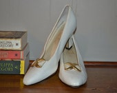 Vintage White High Heel Shoe