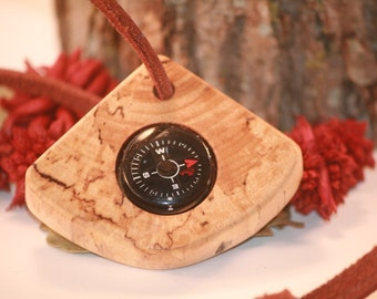Wood Compass Hikers Campers Pocket Compass Michigan Made