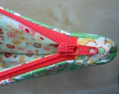 Large Zippered Pouch - Spring Green Floral Print  with Water Resistant Interior and Coral Zipper