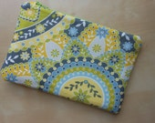 Medium Zippered Pouch - Yellow, Lime and Charcoal Print