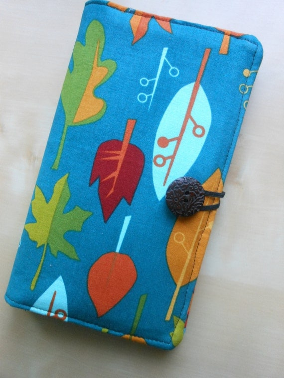 Double Bifold Wallet - Autumn Leaves and Teal