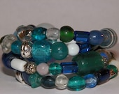 Boho Aquamarine, Turquoise, Green, Blue & White Glass and Silver Metal Bead  Memory Wire Multi-Bangle Look Bracelet