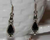 Black Onyx Look Steampunk Classic Teardrop Silver Dangle Pierced Earrings