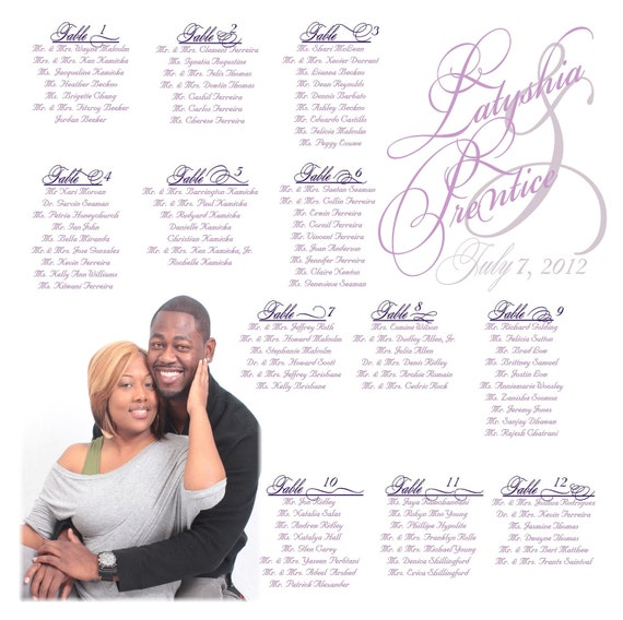 Photo Wedding Seating Chart (FAST turnaround time 1 -2 days)