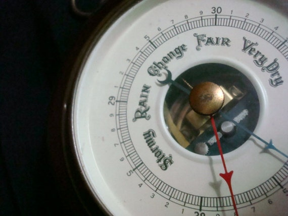 VIntage Antique Weather Barometer Brass and Mahogany Wood, by VIntage Fee & Stemwedel, Vintage pre-1950's