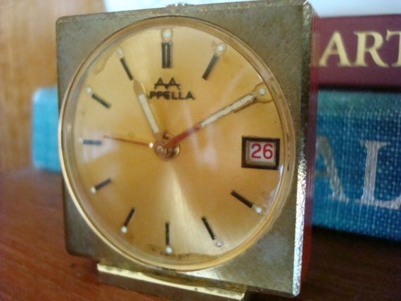 Antique Travel Alarm Clock, Vintage 1950's, Appella 7 Jewels, Swiss Made