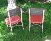 Upcycled repurposed childs kids school chair, chalk paint backs, vintage, Haywood Wakefield, DPS